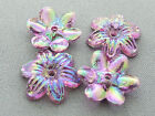 13x15mm 100../1000pcs IRIDESCENT ORCHID ACRYLIC PLASTIC FLOWER BEADS TY03053