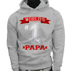 Dad Fathers Day  World's No.1 Papa Best Mens Gray Hoodie