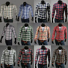 Chic New Fashion Men's Plaid Casual Stylish Slim Fit Long Sleeve Dress Shirt Hot