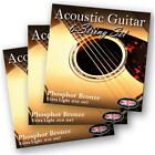 3 PACKS Adagio Pro Acoustic Guitar Strings - Gauges 10, 11 or 12 Phosphor Bronze
