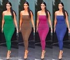 NEW WOMENS Tube Strapless Stretch PLAIN fitted bodycon CLUBWEAR LONG MAXI DRESS