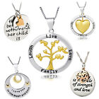 Engraved MessageTag 925 Solid Silver Necklace Live Laugh Life LoveTree mum moon