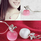 Women's Korean Style Fashion Apple Crystal Opal Pendant Charmming Necklace CHIC