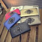 Womens Fashion Long Design Zipper Bag Wallet Purse Female Clutch Skull Purse Z