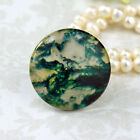 25mm 30mm Moss Agate green white cab Handmade glass Photo cabochon 30M019