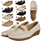 LADIES LOAFERS FLAT CASUAL OFFICE WORK WEDGE HEEL PUMPS SHOE UK SIZE 3 4 5 6 7 8
