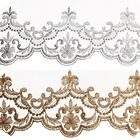 130mm wide Metallic Rayon Embroidery Scalloped Lace Trim for Bridal Wedding lace