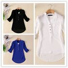 Fashion Women Summer V-neck Chiffon Long Sleeve Casual Elegant Shirt Blouse - CB