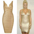 CHIC Womens Sleeveless Gold Fitted Stretch Bodycon Bandage Cocktail Party Dress