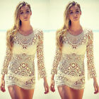 Sexy Women Summer Lace Crochet Hollow Bikini Cover-up Swimwear Beach Dress Tops