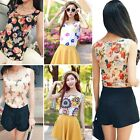 Women's Floral Print Tank Top Vest Chiffon Blouse T-Shirt Casual Sleeveless