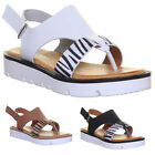 Womens Flat Sole Sandals Zebra Print FlipFlop Summer Ladies UK Size 3 4 5 6 7 8
