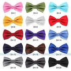 Mens Classic Plain Adjustable Bowtie Tuxedo Wedding Solid Plaids Checks Neckwear