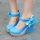 Sweet Womens Mary Jane Lace Bowtie Platform Wedge High Heels Pumps Woven Shoes