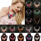 CHI Women Gold Chain Crystal Flower Bib Big Statement Chunky Necklace Collar NEW