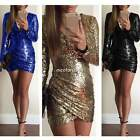 Sexy Women Long Sleeve Deep V neck Cocktail Sequins Evening Bodycon SHort Dress