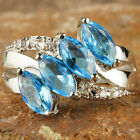 Estate Marquise Cut Blue & White Topaz Gemstone Silver Ring Size 6 7 8 9 10 11