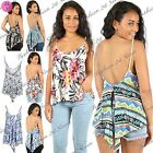 New Women Ladies Printed Back Split Cut Out Flared Strappy Swing Cami Vest Top