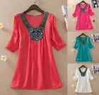 women Embroidered mexican peasant beading loose tunic blouse top one size XL