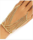 New Fashion Shiny Gold Bracelet Bangle Slave Chain Link Finger Ring Hand Harness