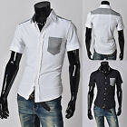 Fashion Mens Slim Fit Fromal Casual Shirts Grid Checks Business Work Tops Shirts