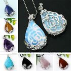 Natural Gemstone Teardrop Flower Wrap Clip Clasp Bead Charm Pendant For Necklace