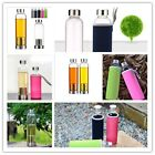 Travel Outdoor Water Bottle Healthy Glass With Tea Filter Fruit Infuser Sleeve Z