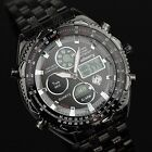 Mens Infantry Black Day Digital LCD Stopwatch Quartz Sport Stainless Steel Watch