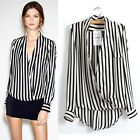 Fashion Women Office Lady Long Sleeve Chiffon Striped Printed T-shirt Top Blouse