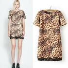 Female Tidal Lace Hem Leopard Print Round Neck Short Sleeve Club Mini Dress