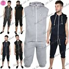 Mens Sleeveless Hooded Fleece Jogging 3/4 Length Tracksuit Bottoms Sweatshirt