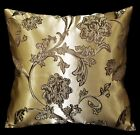 HC315a Light Bronze Gold Deep Brown Floral Jacquard Cushion Cover/Pillow Case