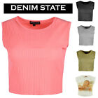 Womens Ladies Sleeveless Ribbed Cropped Summer Style Crop Top Vest T-Shirt 6-14