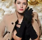40cm long genuine suede leather fashion below elbow length gloves in black