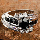 Delicate Oval Cut Black Spinel & White Topaz Gemstone Silver Ring Size 7 8 9 10