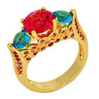 Jewelry Fashion Ring Size 6/7/8/9/10 Blue/Red Women's Yellow Gold Filled Wedding