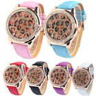 New Women Watches Dial Rhinestone Leather Band Leopard Quartz Analog Wrist Watch