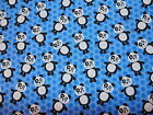 AT THE ZOO - PANDAS ON BLUE 100% cotton patchwork fabric