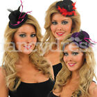 Womens Adult Mini Top Hat Feather Fancy Dress Glitter Burlesque NEW Hen Party