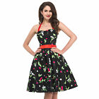 PLUS SIZE RETRO VINTAGE STYLE 50s 60s SWING CHERRY PRINT WOMENS DRESS