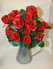 artificial  luxury 21 heads  stems red rose bush bunch with green rose leaves