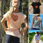 Women Short Sleeve Back Heart Hollow Out T-shirt Casual Blouse Shirt Tops Tee N4