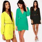 Women Sexy Summer Casual V Neck Long Sleeve Party Evening Cocktail Mini Dress