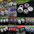 Crystal Resin European Large Big Hole Beads Fit Charms Bracelet Jewelry Making