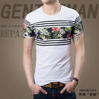 Fashion Men's Floral Pinted Short Sleeve Casual Slim Fit T-Shirts Tops Blouse