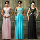 Beaded Long Chiffon Formal Party Evening Prom Ball Gown Pageant Bridesmaid Dress