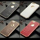 """2in1 Aluminum Metal Frame Crocodile PU Leather Hard Case Cover For iPhone 6 4.7"""""""