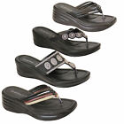 Ladies Sandals Womens Diamante Slip On Toe Post Thong Slippers Comfortable New