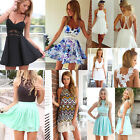 Sexy Women Cocktail Short Mini Dress Summer Casual Floral Sleeveless Party Beach
