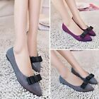New Women Faux Leather Slip On Pointed Toe Flat Shoes Pumps Bownot Party Shoes
